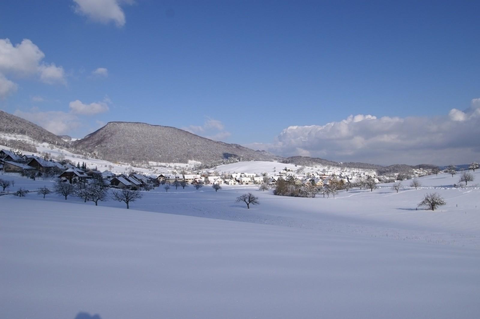 verschneite Dorflandschaft